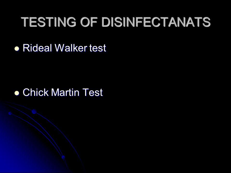 TESTING OF DISINFECTANATS