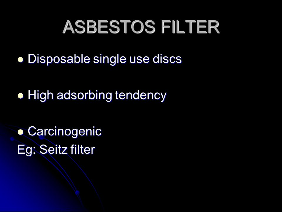ASBESTOS FILTER Disposable single use discs High adsorbing tendency