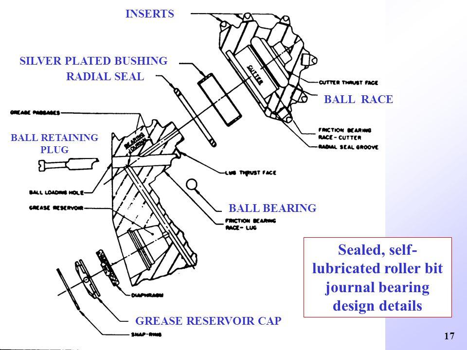 Sealed, self-lubricated roller bit journal bearing design details