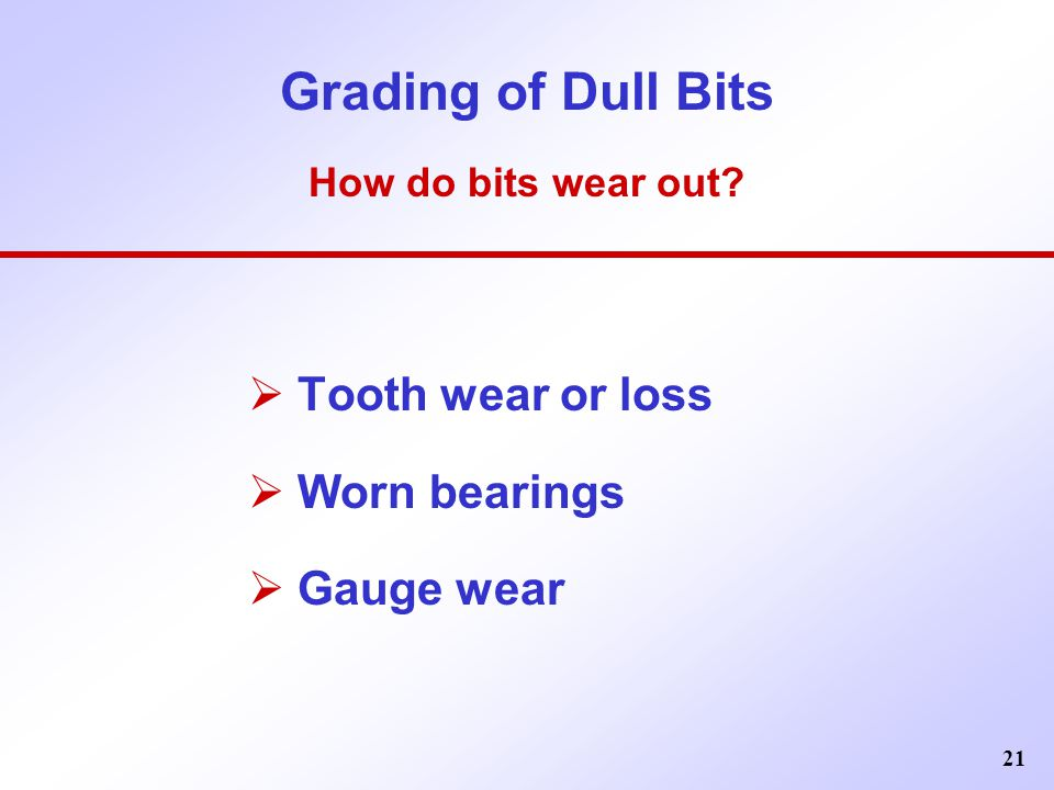 Grading of Dull Bits How do bits wear out
