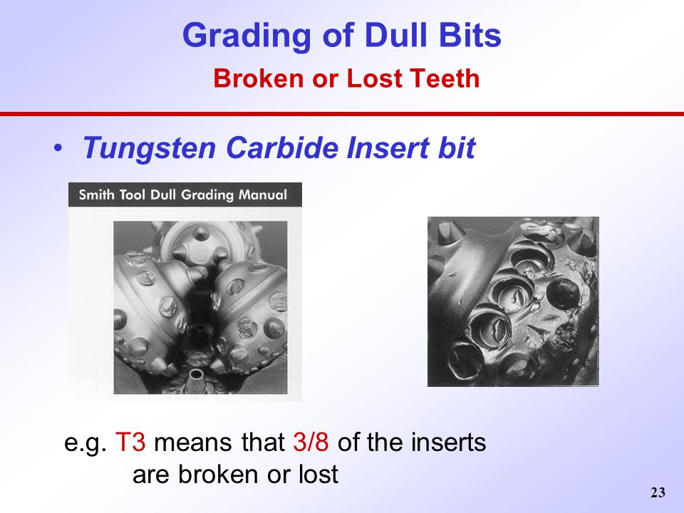 Grading of Dull Bits Broken or Lost Teeth