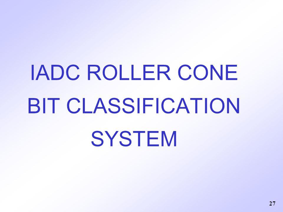 IADC ROLLER CONE BIT CLASSIFICATION SYSTEM