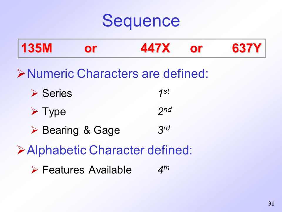 Sequence 135M or 447X or 637Y Numeric Characters are defined: