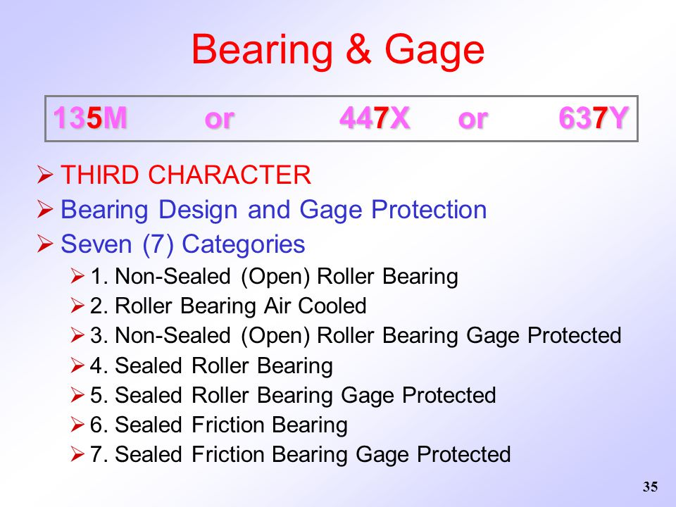 Bearing & Gage 135M or 447X or 637Y THIRD CHARACTER