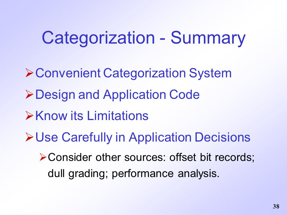 Categorization - Summary