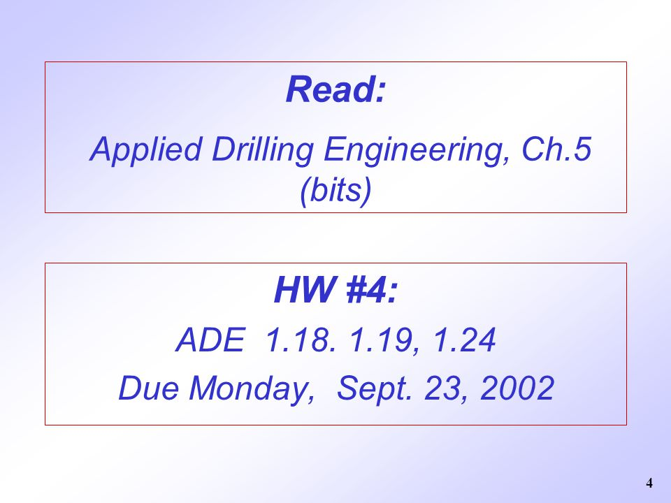 Read: Applied Drilling Engineering, Ch.5 (bits)
