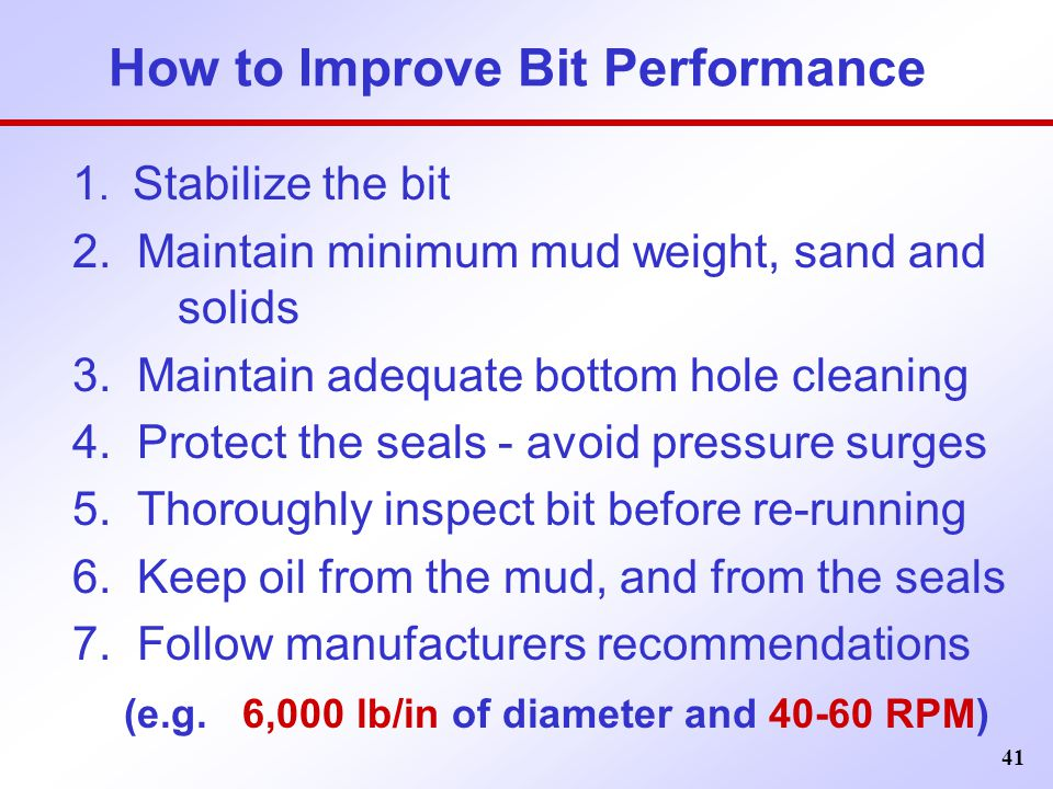 How to Improve Bit Performance