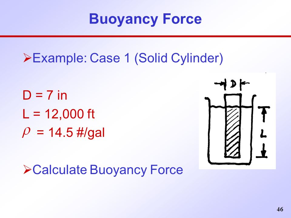 Buoyancy Force Example: Case 1 (Solid Cylinder) D = 7 in L = 12,000 ft