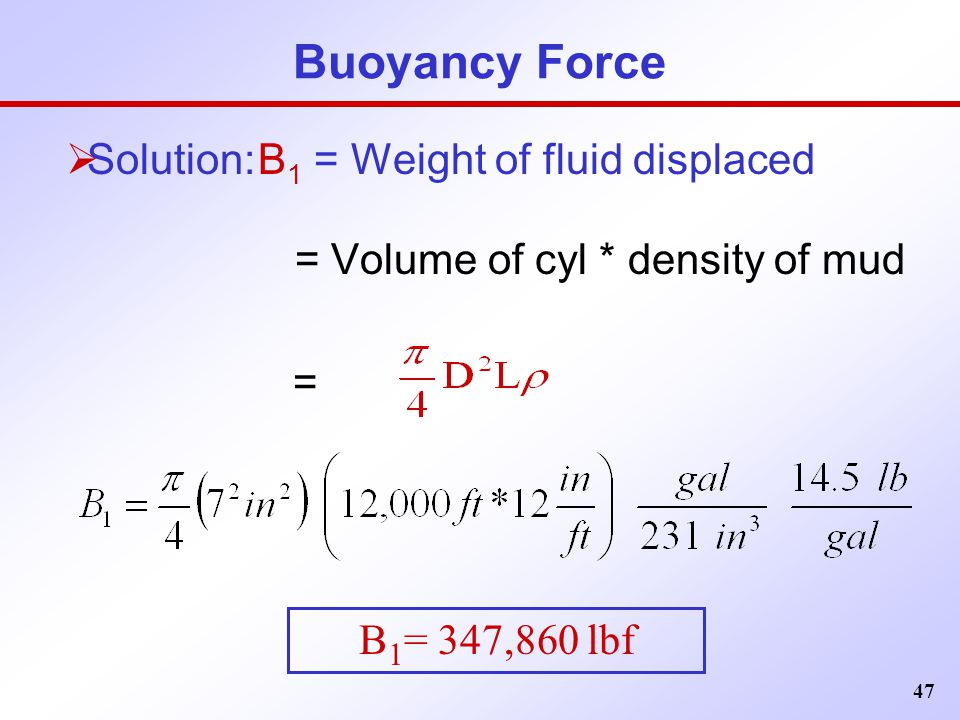 Buoyancy Force Solution: B1 = Weight of fluid displaced =