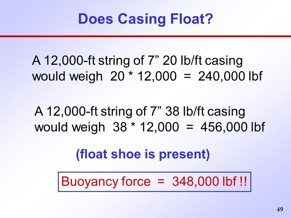 Does Casing Float A 12,000-ft string of 7 20 lb/ft casing would weigh 20 * 12,000 = 240,000 lbf.