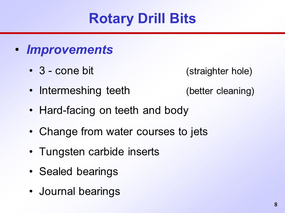 Rotary Drill Bits Improvements 3 - cone bit (straighter hole)