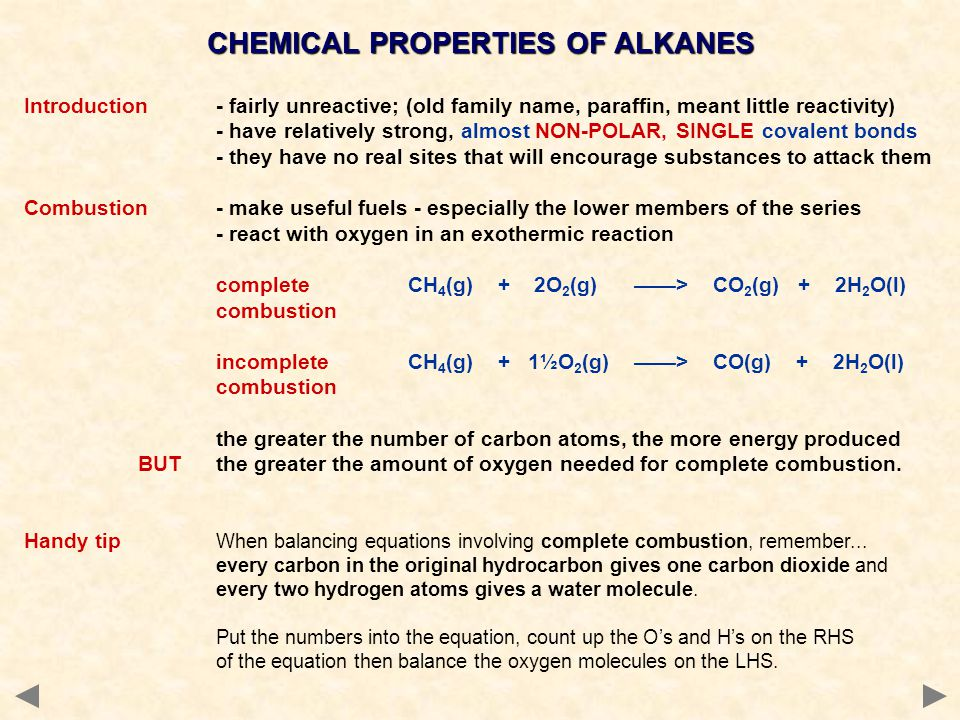 CHEMICAL PROPERTIES OF ALKANES