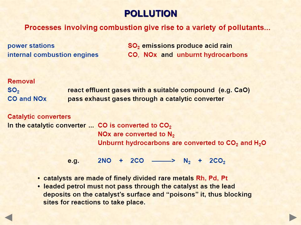 Processes involving combustion give rise to a variety of pollutants...