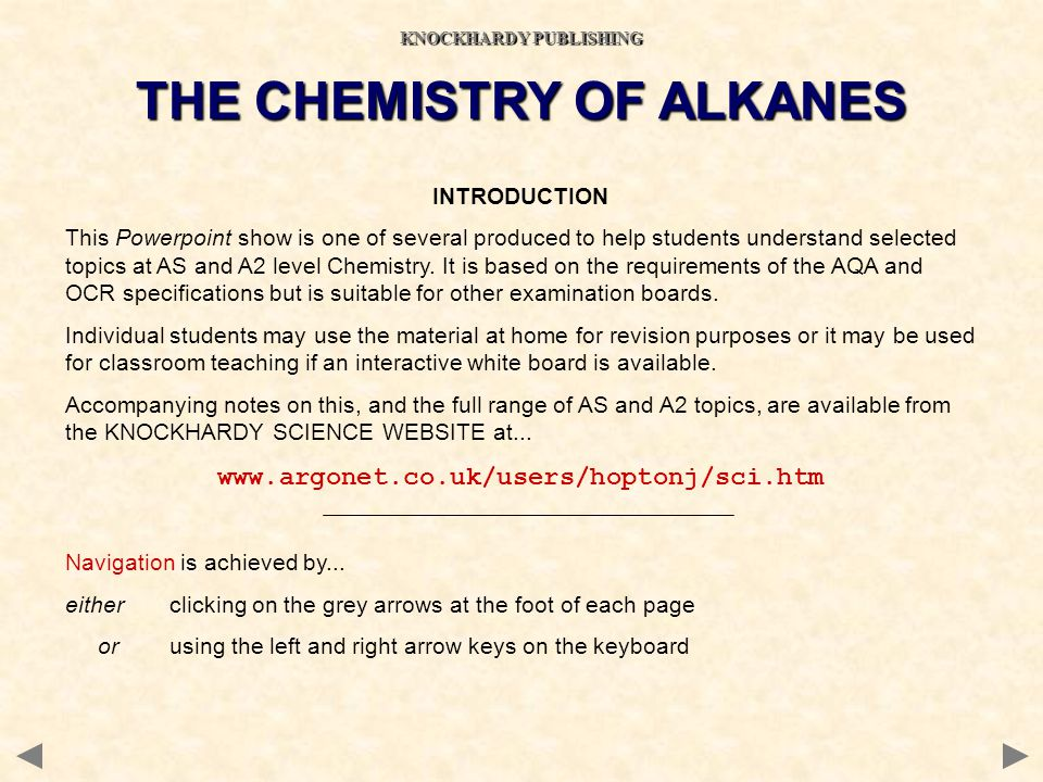 KNOCKHARDY PUBLISHING THE CHEMISTRY OF ALKANES