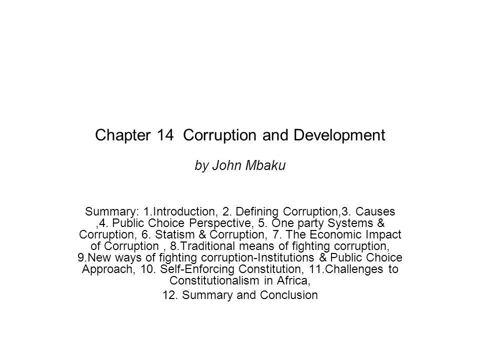 Chapter 14 Corruption and Development by John Mbaku