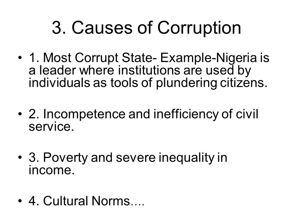 3. Causes of Corruption