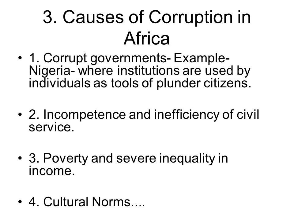 3. Causes of Corruption in Africa