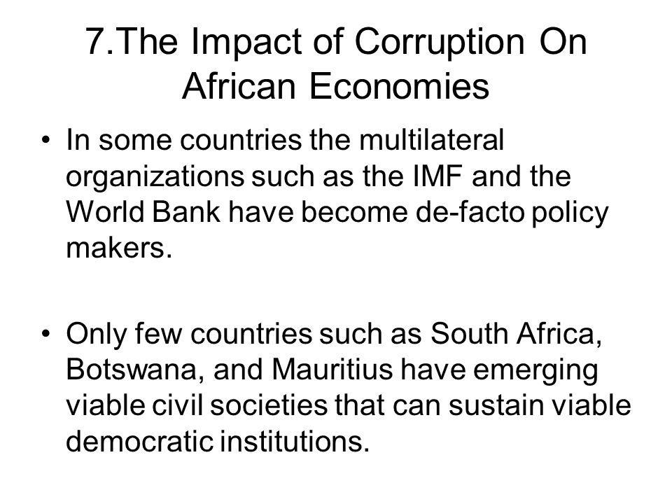 7.The Impact of Corruption On African Economies
