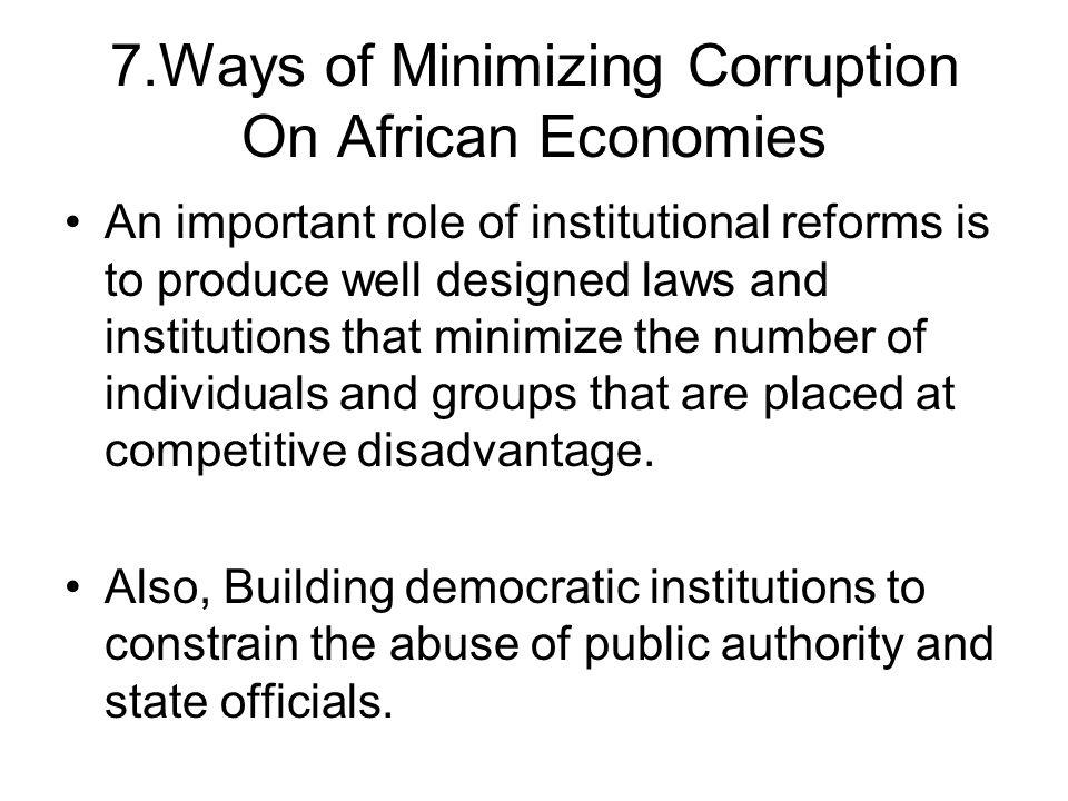 7.Ways of Minimizing Corruption On African Economies
