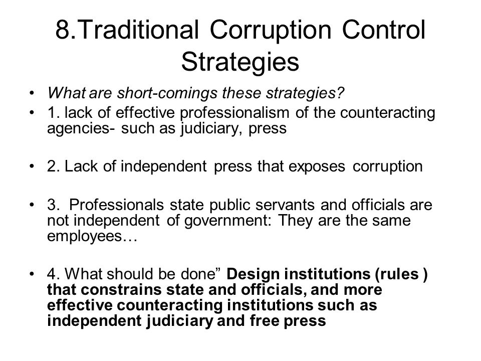8.Traditional Corruption Control Strategies