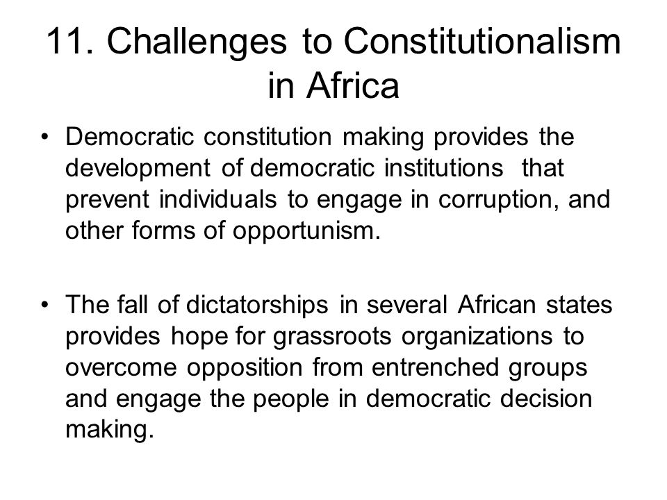 11. Challenges to Constitutionalism in Africa