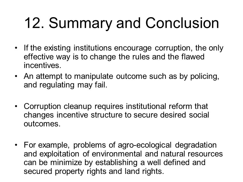 12. Summary and Conclusion