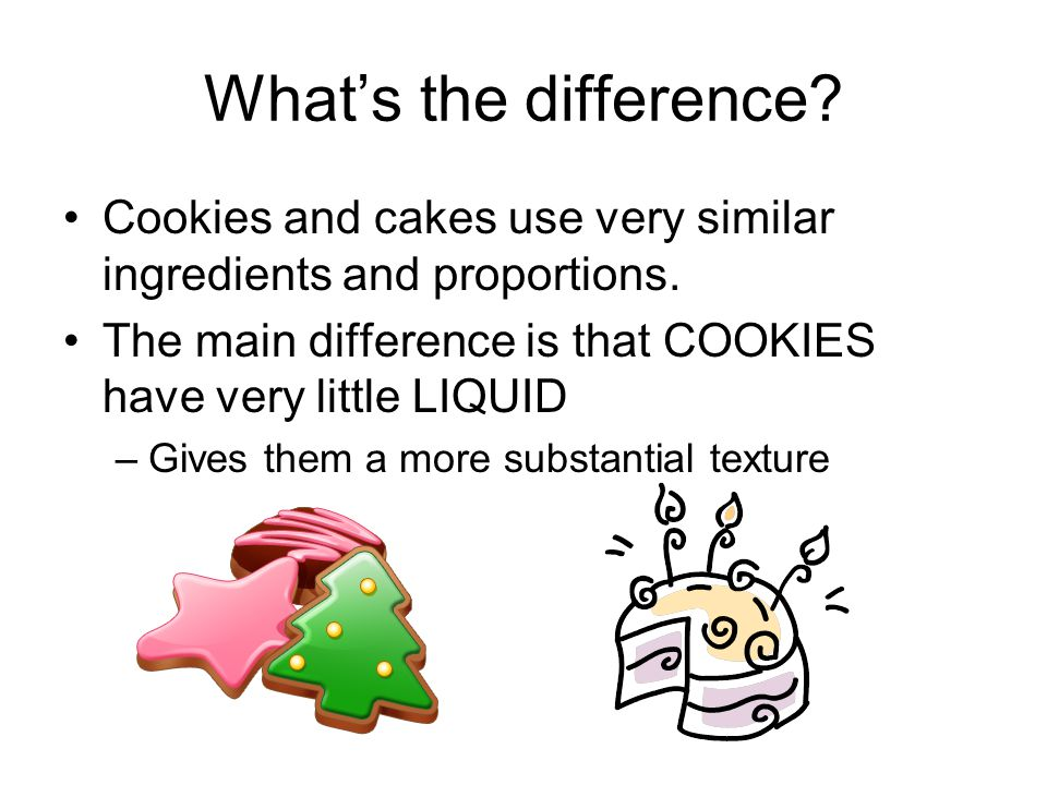 What's the difference Cookies and cakes use very similar ingredients and proportions. The main difference is that COOKIES have very little LIQUID.