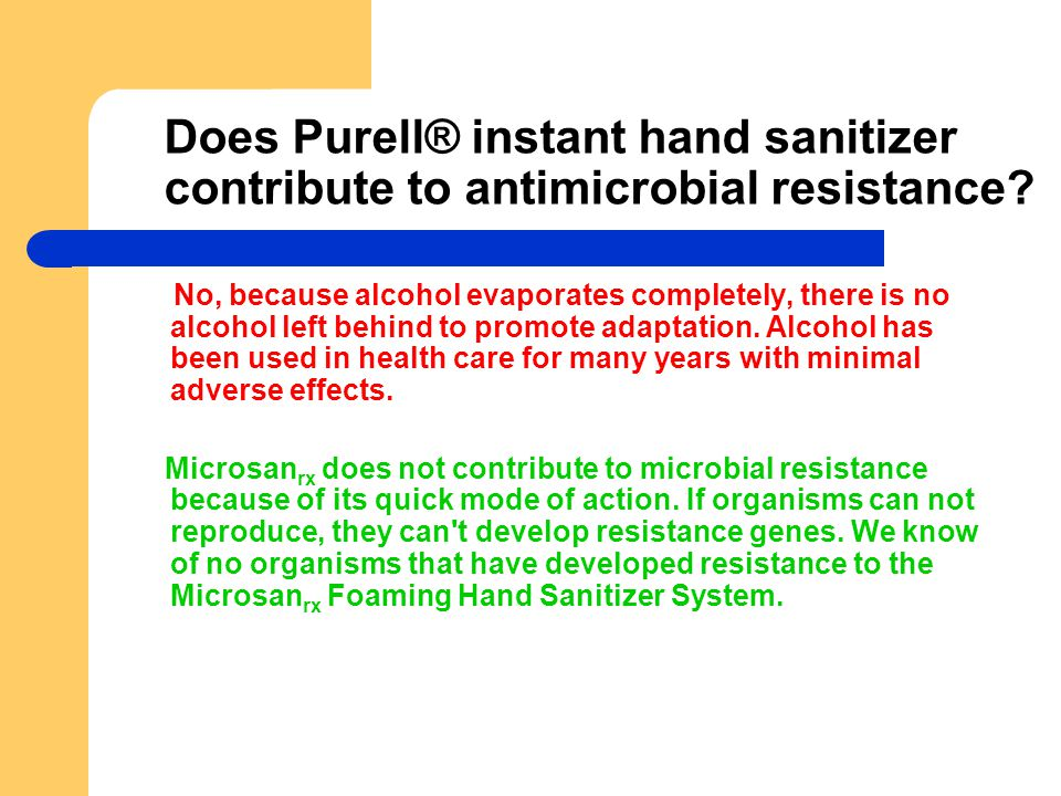 Does Purell® instant hand sanitizer contribute to antimicrobial resistance