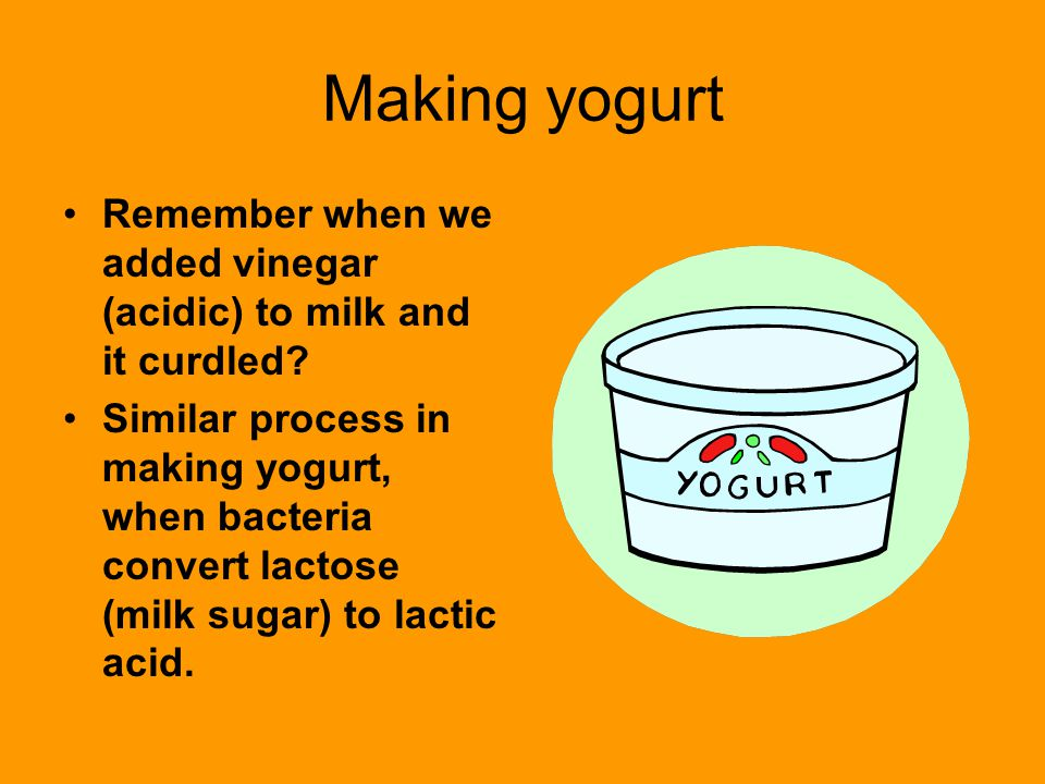 Making yogurt Remember when we added vinegar (acidic) to milk and it curdled