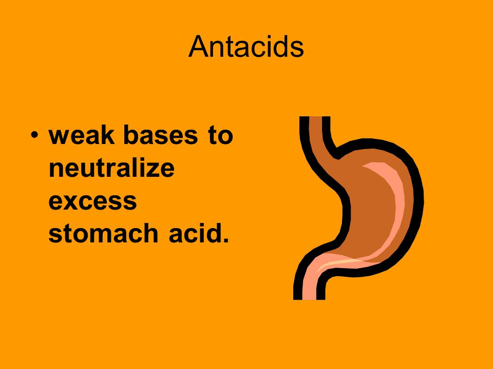 Antacids weak bases to neutralize excess stomach acid.