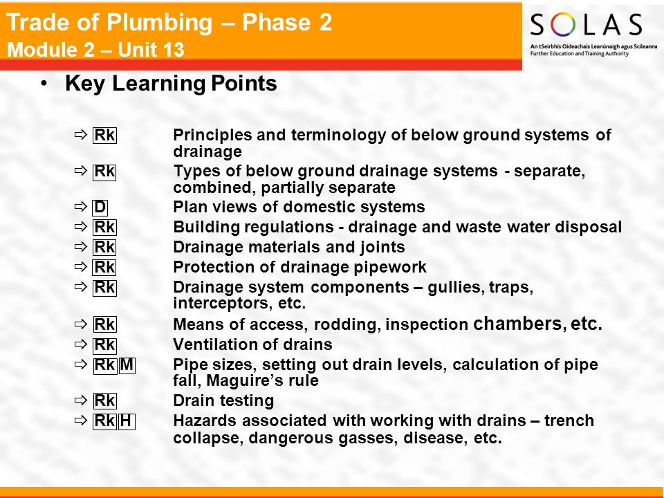 Key Learning Points Rk Principles and terminology of below ground systems of drainage.