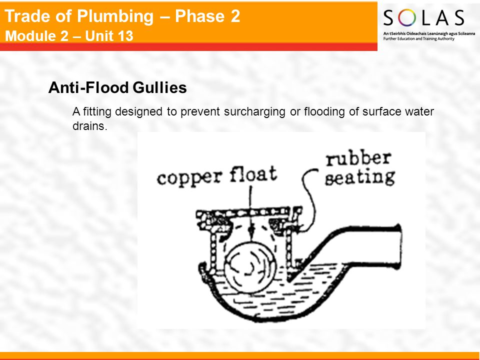 Anti-Flood Gullies A fitting designed to prevent surcharging or flooding of surface water drains.