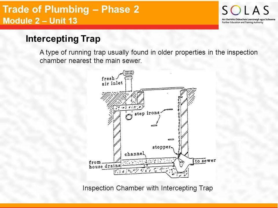 Intercepting Trap A type of running trap usually found in older properties in the inspection chamber nearest the main sewer.