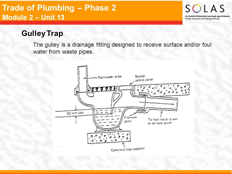 Gulley Trap The gulley is a drainage fitting designed to receive surface and/or foul water from waste pipes.