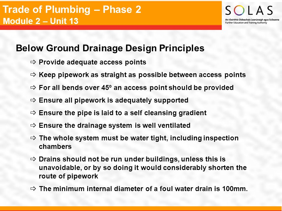 Below Ground Drainage Design Principles