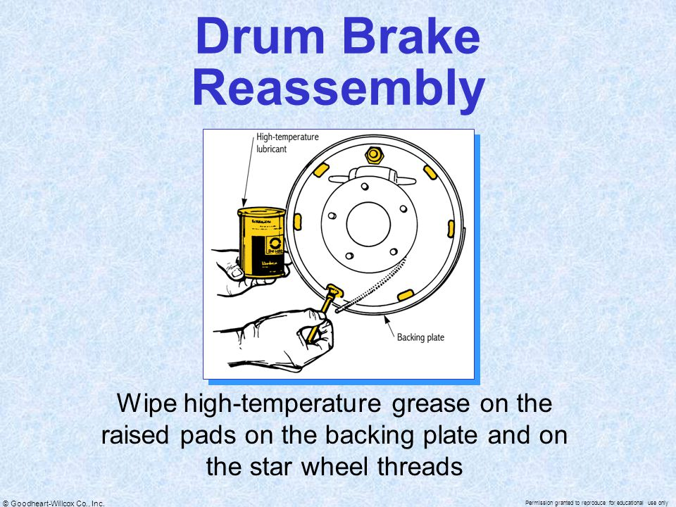 Drum Brake Reassembly Wipe high-temperature grease on the raised pads on the backing plate and on the star wheel threads.
