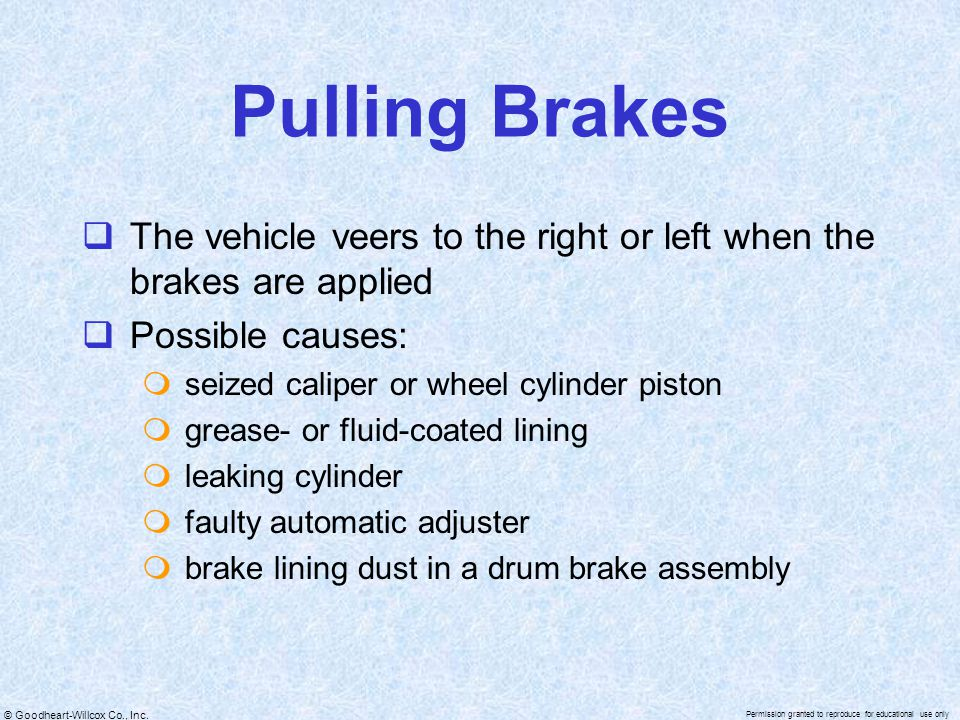 Pulling Brakes The vehicle veers to the right or left when the brakes are applied. Possible causes:
