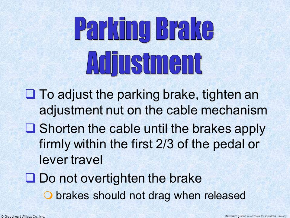 Parking Brake Adjustment