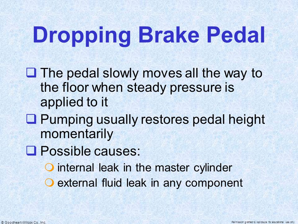 Dropping Brake Pedal The pedal slowly moves all the way to the floor when steady pressure is applied to it.