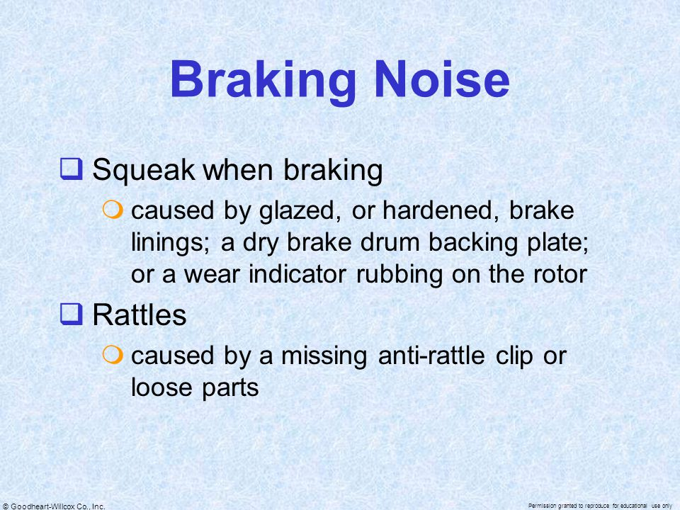 Braking Noise Squeak when braking Rattles