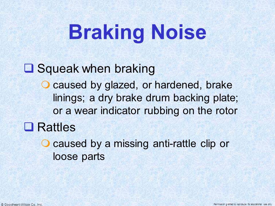 Braking Noise Squeak when braking Rattles
