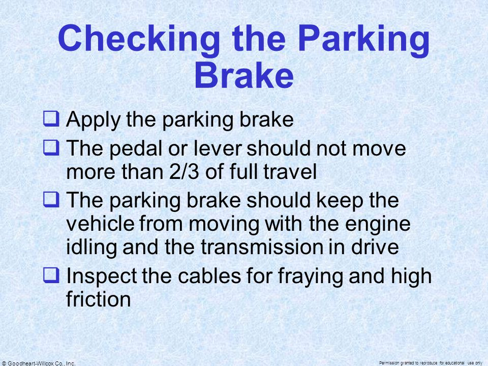 Checking the Parking Brake