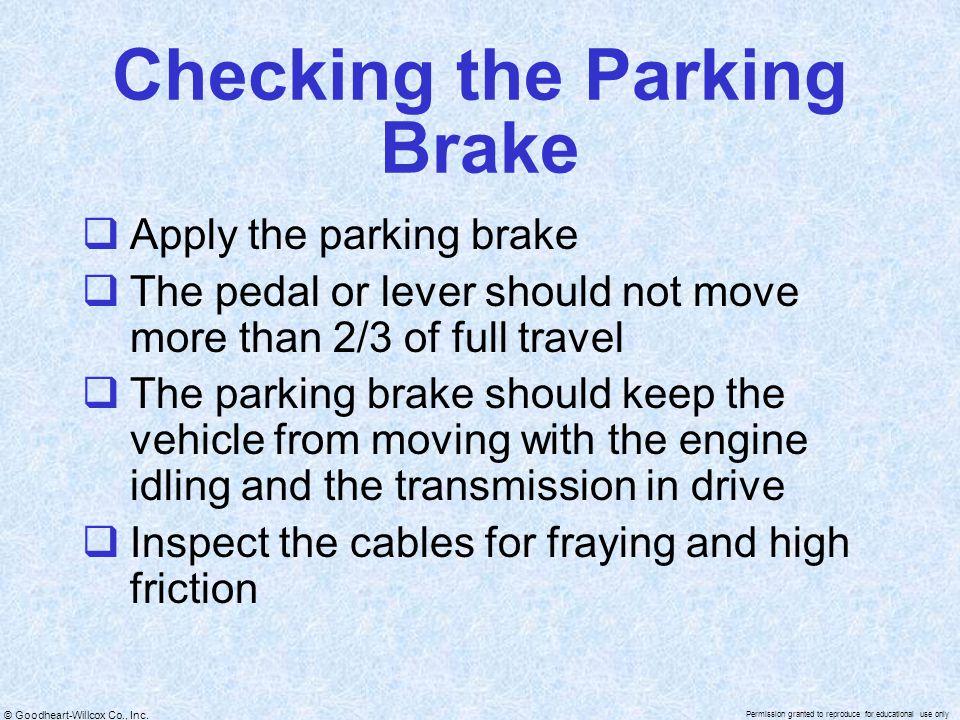 Checking the Parking Brake