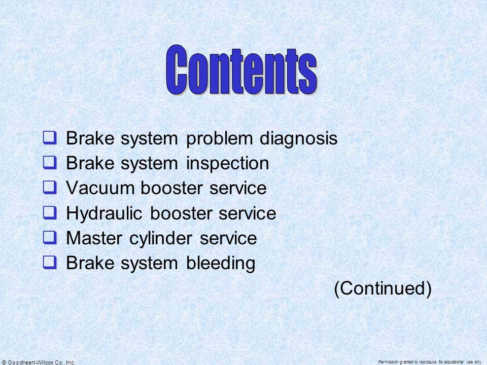 Contents Brake system problem diagnosis Brake system inspection