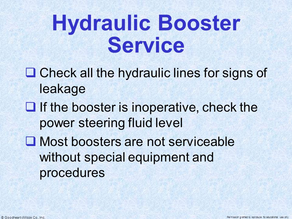 Hydraulic Booster Service