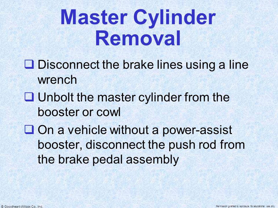 Master Cylinder Removal