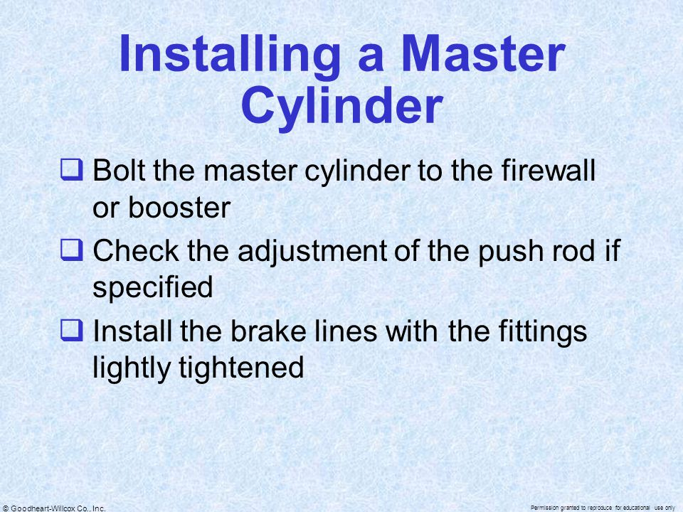 Installing a Master Cylinder