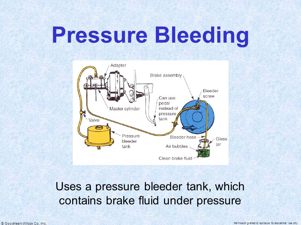 Pressure Bleeding Uses a pressure bleeder tank, which contains brake fluid under pressure