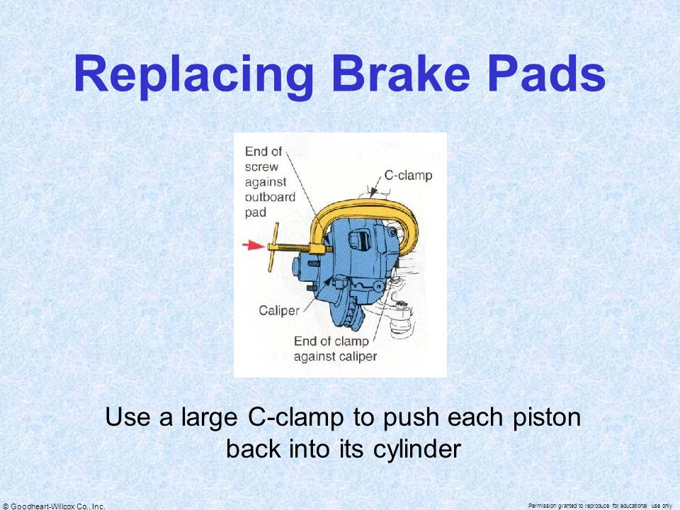 Use a large C-clamp to push each piston back into its cylinder