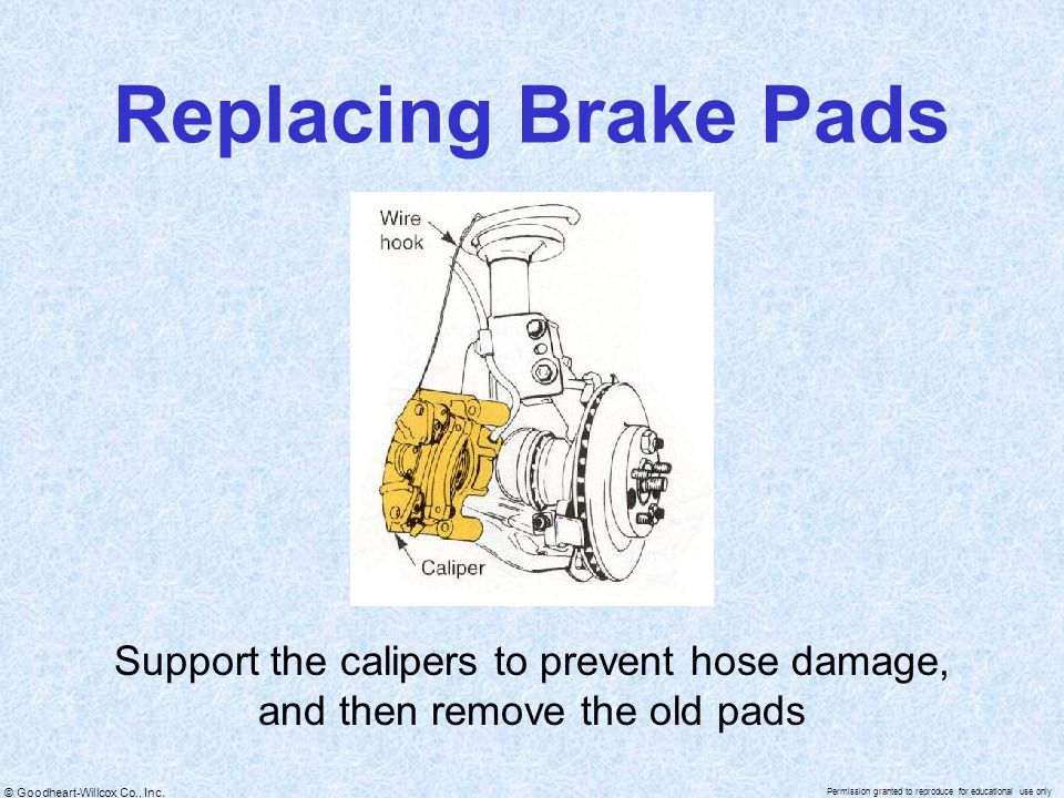 Replacing Brake Pads Support the calipers to prevent hose damage, and then remove the old pads